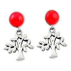 Natural red sponge coral 925 silver tree of life earrings a69424