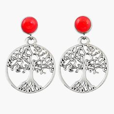925 silver natural red sponge coral tree of life earrings jewelry a69426