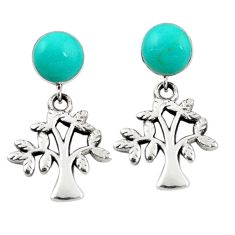 Fine green turquoise 925 sterling silver tree of life earrings jewelry a69427
