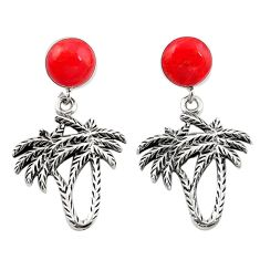 Natural red sponge coral 925 sterling silver dangle palm tree earrings a69429