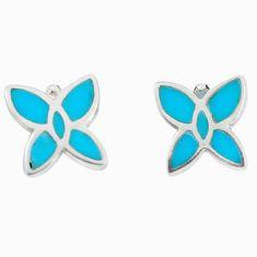 Fine blue turquoise enamel 925 sterling silver earrings jewelry a69664