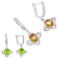 Green alexandrite (lab) topaz 925 sterling silver dangle earrings a70626