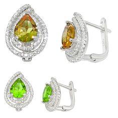 Green alexandrite (lab) topaz 925 sterling silver stud earrings a70667