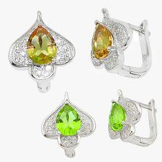 Green alexandrite (lab) topaz 925 sterling silver stud earrings a70669