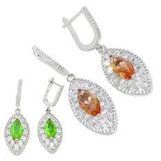 Green alexandrite (lab) topaz 925 sterling silver dangle earrings a70712