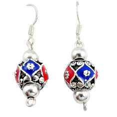 Multi color enamel 925 sterling silver dangle ball earrings jewelry a72521