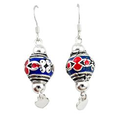 Multi color enamel 925 sterling silver dangle ball earrings jewelry a72522