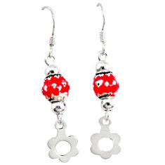 Red enamel 925 sterling silver dangle ball earrings jewelry a72523