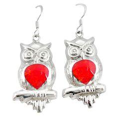Red coral enamel 925 sterling silver owl earrings jewelry a72542