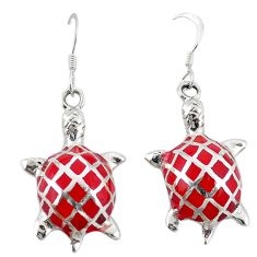 Red coral enamel 925 sterling silver tortoise earrings jewelry a72548