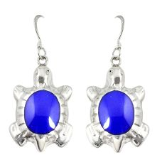 Natural blue lapis lazuli enamel 925 silver tortoise earrings jewelry a72550