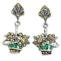 Pink pearl enamel 925 sterling silver owl earrings jewelry a72581