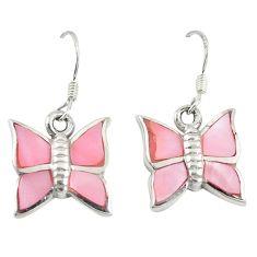 Pink pearl enamel 925 sterling silver butterfly earrings jewelry a72598