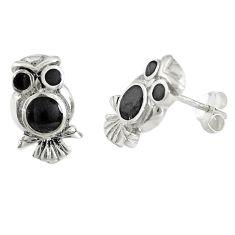 Black onyx enamel 925 sterling silver owl earrings jewelry a72626