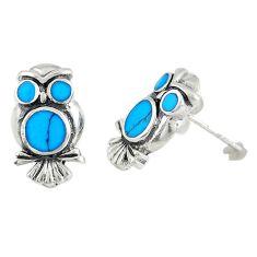 925 sterling silver fine blue turquoise enamel owl earrings jewelry a72637