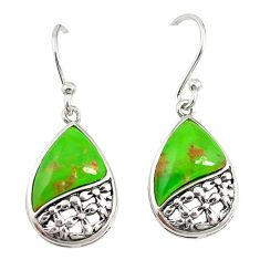 Green copper turquoise 925 sterling silver earrings jewelry a72642