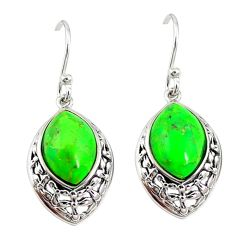 Green copper turquoise 925 sterling silver earrings jewelry a72656