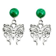 Natural green malachite (pilot's stone) 925 silver butterfly earrings a73744