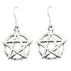 Indonesian bali style solid 925 silver star of david earrings jewelry a73771