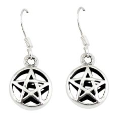Indonesian bali style solid 925 sterling silver star of david earrings a73778