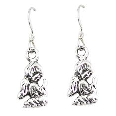 Indonesian bali style solid 925 silver dangle praying angel earrings a73818