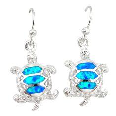 Blue australian opal (lab) enamel 925 silver tortoise earrings jewelry a73901