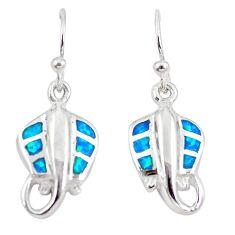 Blue australian opal (lab) enamel 925 silver fish earrings jewelry a73907