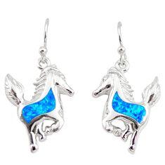 Blue australian opal (lab) enamel 925 silver horse charm earrings a73915