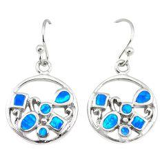 Blue australian opal (lab) enamel 925 silver dangle earrings jewelry a73923