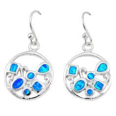 Blue australian opal (lab) enamel 925 sterling silver dangle earrings a73931
