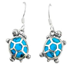 Fine blue turquoise enamel 925 sterling silver tortoise earrings a74683