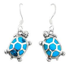 Fine blue turquoise enamel 925 sterling silver tortoise earrings jewelry a74687