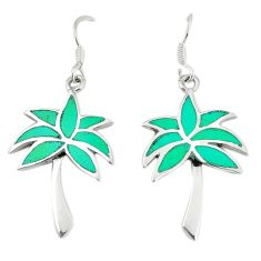 Fine green turquoise enamel 925 sterling silver dangle palm tree earrings a74689