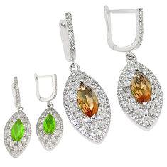 Green alexandrite (lab) topaz 925 silver dangle earrings jewelry a75141