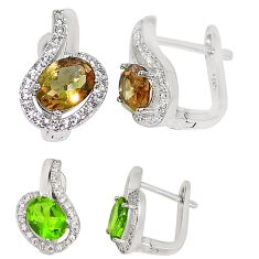 Green alexandrite (lab) white topaz 925 sterling silver stud earrings a75147