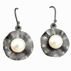 Natural white pearl 925 sterling silver dangle earrings jewelry a75241