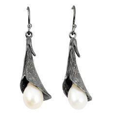 Natural white pearl 925 sterling silver dangle earrings jewelry a75244