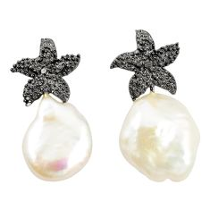 Natural white pearl 925 sterling silver dangle earrings jewelry a75246