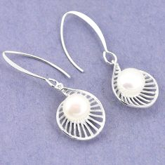 7.46cts natural white pearl 925 sterling silver earrings jewelry a75282
