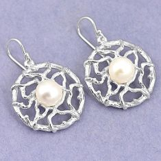 Natural white pearl 925 sterling silver dangle earrings jewelry a75301