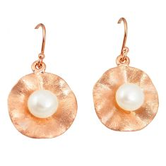 Natural white pearl 925 sterling silver 14k gold earrings jewelry a75343