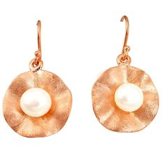 Natural white pearl 925 sterling silver 14k gold earrings jewelry a75344