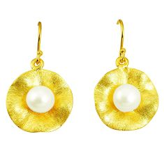 Natural white pearl 925 sterling silver 14k gold dangle earrings a75362