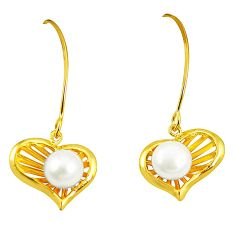 Natural white pearl 925 sterling silver 14k gold dangle earrings jewelry a75370