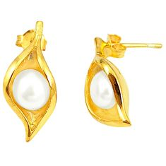 Natural white pearl 925 sterling silver 14k gold dangle earrings a75378