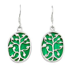 Natural green malachite (pilot's stone) 925 sterling silver earrings a75504