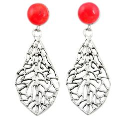 Red coral 925 sterling silver dangle earrings jewelry a75567
