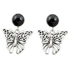 Natural black onyx 925 sterling silver butterfly earrings jewelry a75575