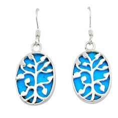Fine blue turquoise 925 sterling silver tree of life earrings a75602