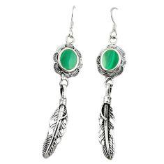 Green malachite (pilot's stone) 925 silver dangle earrings jewelry a75614